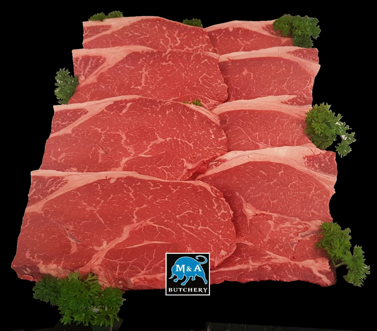 Wagyu Rump Steak mb4-5 with Logo