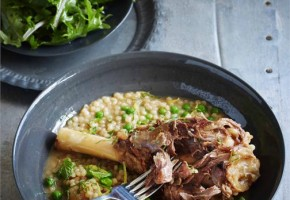 Braised Lamb Shanks with Pearl cous cous, peas and Mint - MLAImages